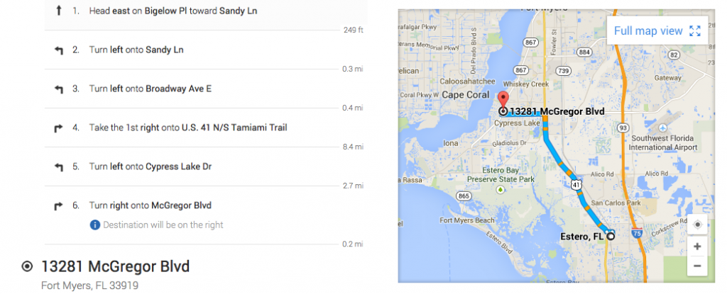 Google Maps directions from Estero to Fort Myers