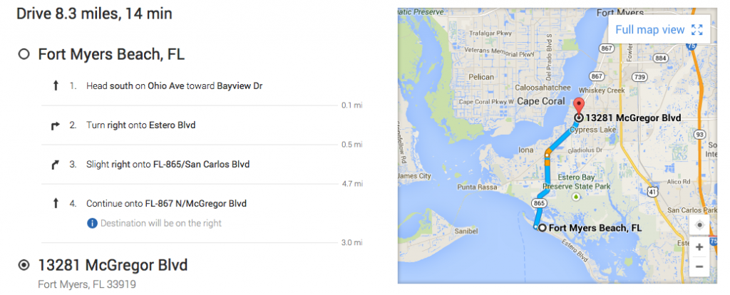 Google Maps directions from Fort Myers Beach to Fort Myers